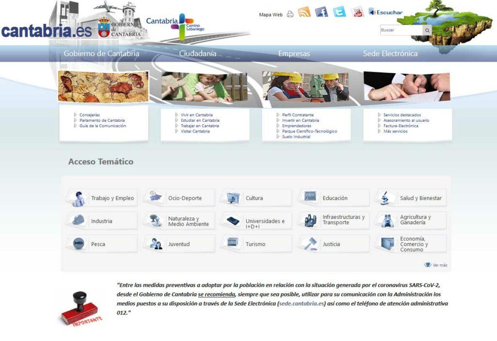 Página Web Gobierno de Cantabria