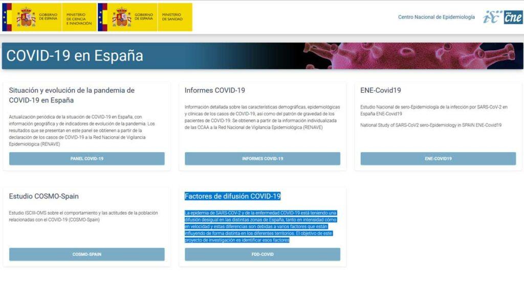 Web Centro Nacional de Epidemiología
